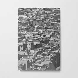 Cityview Medina Fés, Morocco. Black and White Fine Art Travel Print. Wall Art. Metal Print
