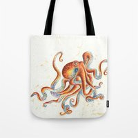 octopus Tote Bags featuring Octopus by Patrizia Ambrosini
