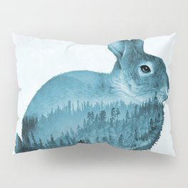 Misty Forest Bunny - Turquoise Blue Pillow Sham