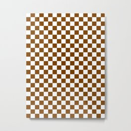 Small Checkered - White and Chocolate Brown Metal Print