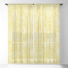 Daffodil Pattern- Illuminating Yellow Sheer Curtain