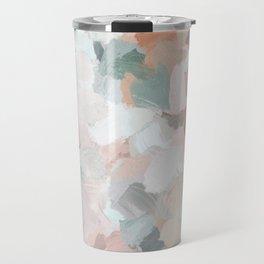 Blush Pink Mint Green Blue Coral Peach Abstract Flower Wall Art Springtime Painting Modern Wall Art Travel Mug