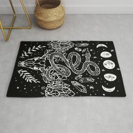 Gothic Snakes And Crystals Moon Phases Rug