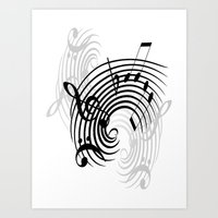 music notes Art Prints featuring Music Notes by Svetlana Sewell