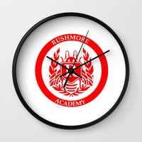 rush Wall Clocks featuring Rush by FunnyFaceArt