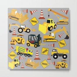 Construction Trucks Pattern - Excavator, Dump Truck, Backhoe and more. Metal Print