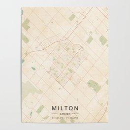 Milton, Canada - Vintage Map Poster