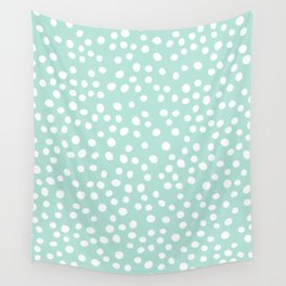Light Blue and white doodle dots Wall Tapestry
