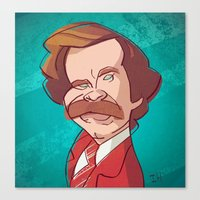 anchorman Canvas Prints featuring Anchorman by nachodraws
