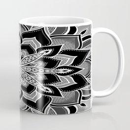 Mandala: Black Gray White Flower Coffee Mug