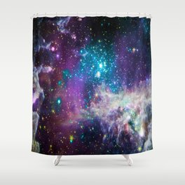 Colorful Sparkling Stars Nursery Shower Curtain