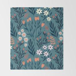 Beautiful Springtime Garden Daisy And Tulip Pattern Throw Blanket