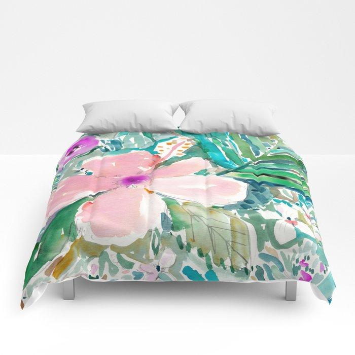 Pale Pink Hibiscus Comforters By Barbraignatiev Society6