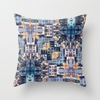 community Throw Pillows featuring Community of Cubicles by Phil Perkins