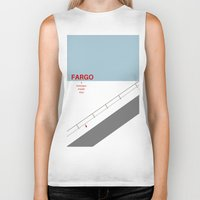fargo Biker Tanks featuring Fargo minimalist poster by cinemaminimalist