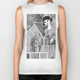 Girl on the top of her house. Biker Tank