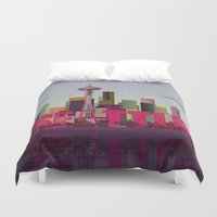 seattle Duvet Covers featuring Seattle by WyattDesign