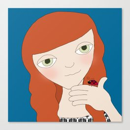 Red Haired Girl With Lady Bug Canvas Print
