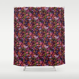 Red and purple flower field pattern on a black background Shower Curtain