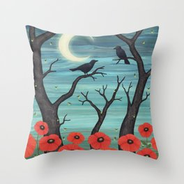 crows, fireflies, and poppies in the moonlight Throw Pillow
