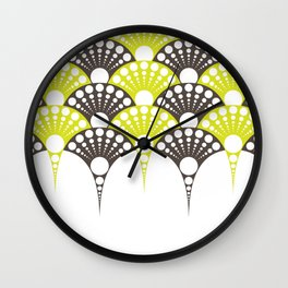 polka dotted fan pattern in brown and lime Wall Clock
