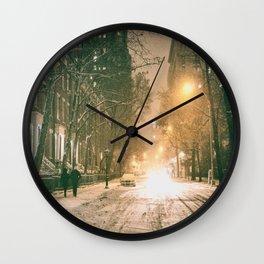 Winter - New York City - Snows Falls - Washington Square Wall Clock