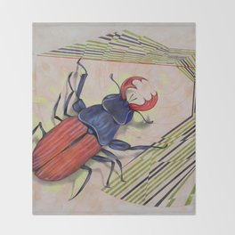 The measurement of space / stag-beetle Throw Blanket