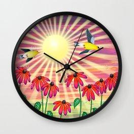 goldfinches sunshine flight Wall Clock