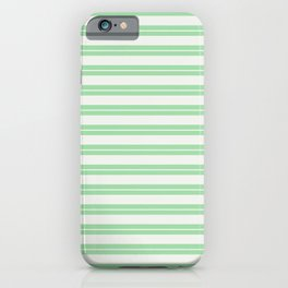 Linen White Line Pattern 1 on Pastel Green Pairs to 2020 Color of the Year Neo Mint iPhone Case