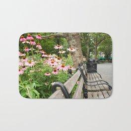 City Bench Flowers Bath Mat