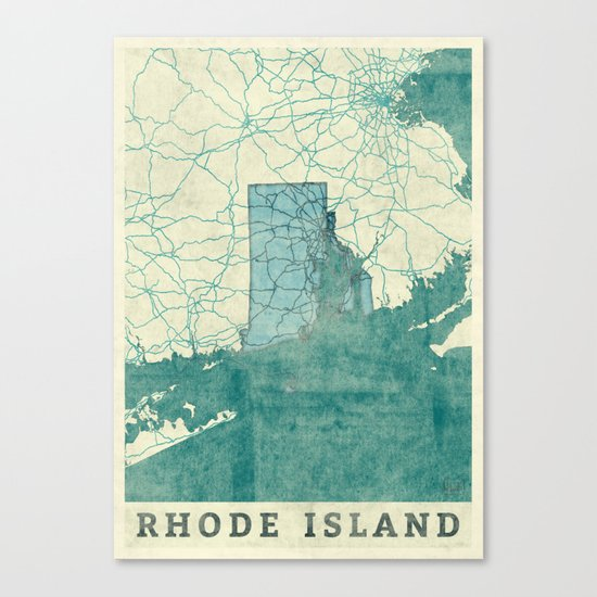 Rhode Island State Map Blue Vintage Canvas Print