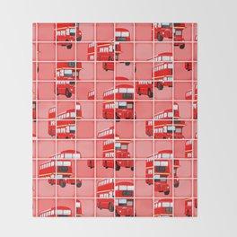 London Bus Pixel Puzzle Throw Blanket