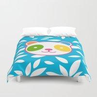murakami Duvet Covers featuring Rainbow Panda by XOOXOO