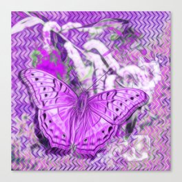 Ultra-violet butterfly and abstract background Canvas Print