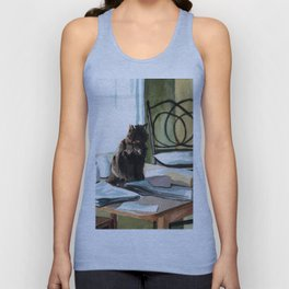 Cat on a Table With Light Coming Through a Window Unisex Tank Top