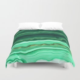 Gold And Malachite Marble Duvet Cover