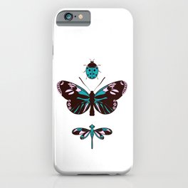 Butterfly, dragonfly and lady bug iPhone Case