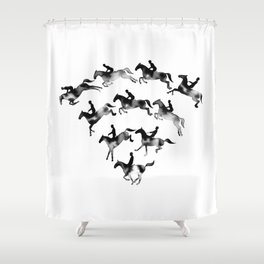 Connected to Showjumping (Black) Shower Curtain