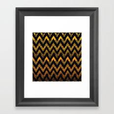 black and gold chevron Framed Art Print