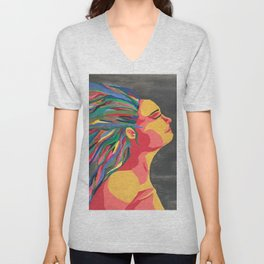 Girl with the Colored Hair Unisex V-Neck