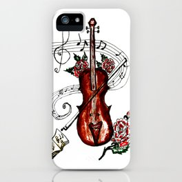 Brown Violin with Notes iPhone Case