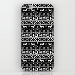 Dachshund fair isle christmas dog breed gifts for dog lover pet art cute holiday doxie dogs iPhone Skin