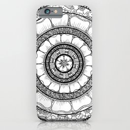 Circle - Mandala - Love Wealth Health Youthfulnes - White Black iPhone Case