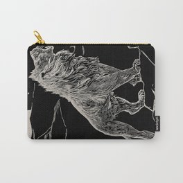 The animal story book Andrew Lang - 1904 Black & White Ink Lion Magical Mystical Animal Art Carry-All Pouch
