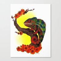 chameleon Canvas Prints featuring Chameleon by Allyson Travis
