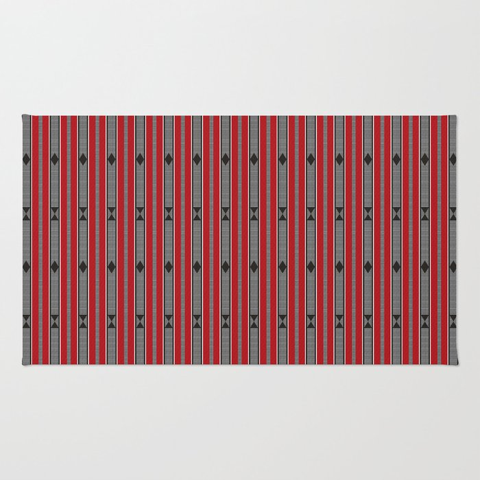 ethnic weave vertical red Rug