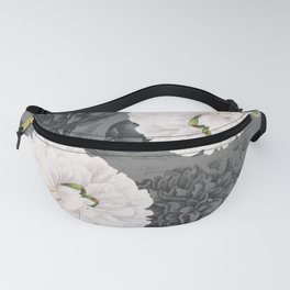 White Peony Grey Chic Fanny Pack