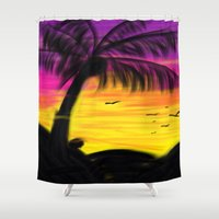 palm Shower Curtains featuring palm by Mel E Hyman