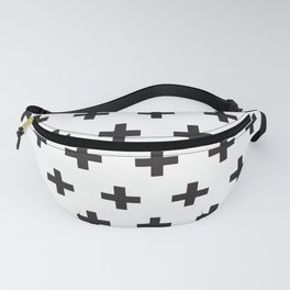 Swiss Cross x Black on White Fanny Pack