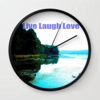 dallas Wall Clocks featuring Dallas Bay by Happy Fish Gallery